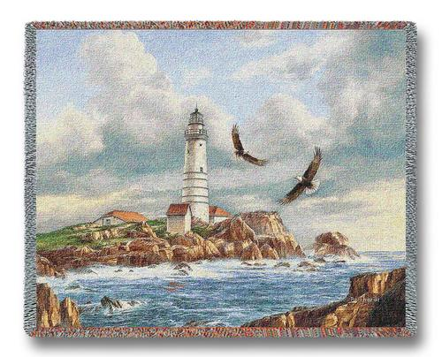 Boston Lighthouse Tapestry Throw, 70in x 54in