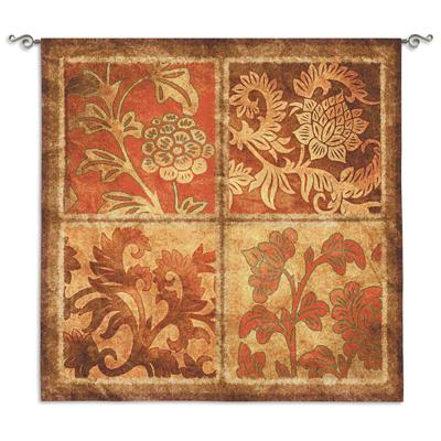 Botanical Scroll Ornamental Wall Tapestry - Floral Collage, 44in x 44in