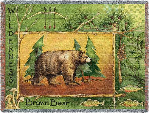 Brown Bear Tapestry Throw, 48in x 69in