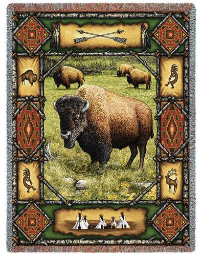 Buffalo Lodge Tapestry Throw, 54in x 70in