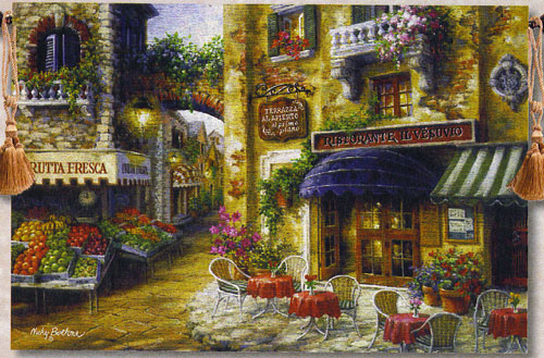 Buon Appetito Italian Street Cafe Tapestry Wall Hanging, 70in X 50in