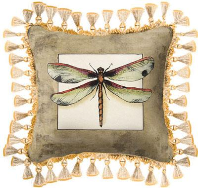 Butterfly Dragonfly I Contemporary Tapestry Cushion, 17in x 17in
