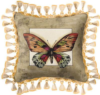 Butterfly Dragonfly II Contemporary Tapestry Cushion, 17in x 17in