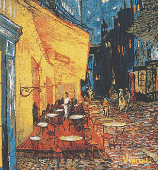 Cafe Terrace at Night Van Gogh Belgian Tapestry, 18in x 18in unfinished panel