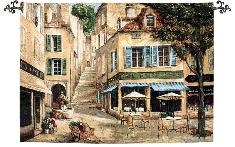 Cafe De La Place Street Cafe Tapestry Wall Hanging, 70in X 50in