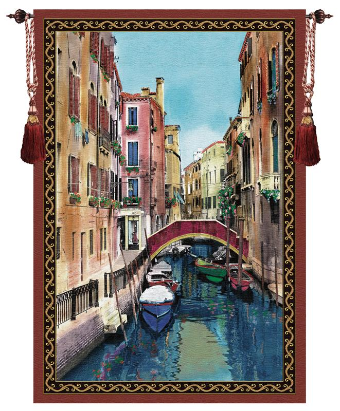 Canal With Shops Tapestry Wall Hanging - Water Front View Picture, 56in X 80in