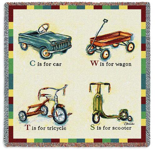 Car Wagon Scooter Lap Square Tapestry Throw, 53in x 53in