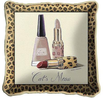 Cats Meow Modern Tapestry Cushion - Fashion Design, 17in x 17in