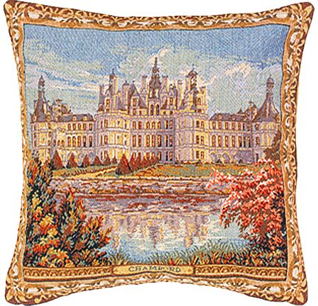 Chambord Castle II Tapestry Cushion Cover - European Home Decor Collection, 18in x 18in cushion cover