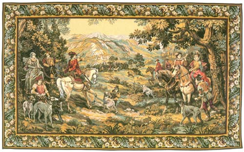 Chasse A Courre De Detti Hunting Wall Tapestry - The Royal Hunt Scene, 44in X 78in