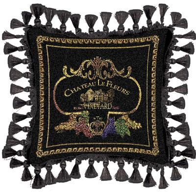 Chateau Classic Tapestry Cushion - Black Style, 27in x 27in