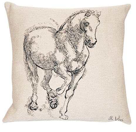 Cheval De Vinci Tapestry Cushion Cover - European Home Decor Collection, 18in x 18in cushion cover