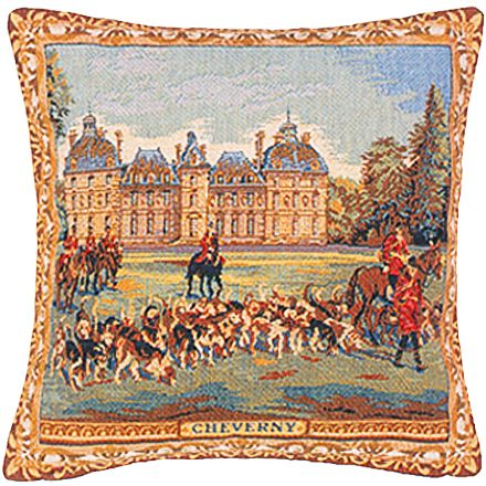 Cheverny Castle Tapestry Cushion Cover - European Home Decor Collection, 18in x 18in cushion cover