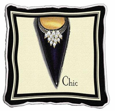 Chic Stiletto Modern Tapestry Cushion - Fashion Design, 17in x 17in