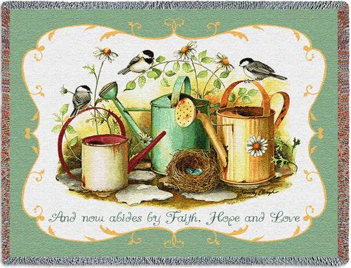 Chickadees Faith Tapestry Throw, 70in x 53in