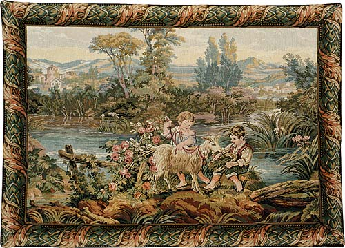 Francois Boucher Tapestry Children By The Lake - Pastoral Picture, 24in X 34in