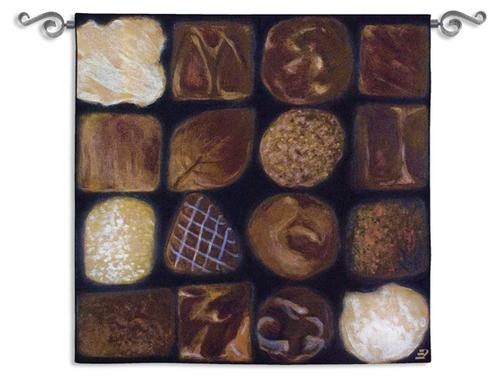Chocolate Box Contemporary Tapestry Wall Hanging - Candy Collage, 53in X 53in