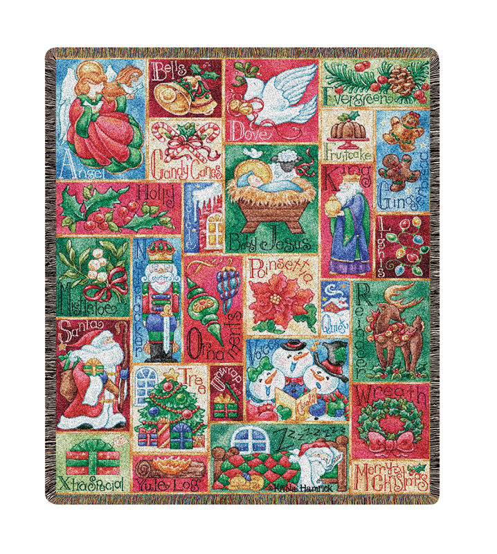 Christmas Aphabet Tapestry Throw - Holiday Decor Idea, 51in X 68in