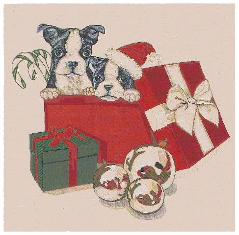 Christmas Puppies Cushion Cover, 18in x 18in