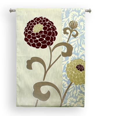 Chrysanthemums III Modern Floral Tapestry Wall Hanging - Botanical Design, 36in X 52in