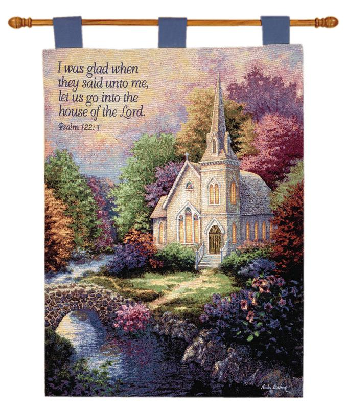 Church In The Country Tapestry Wall Hanging - Religious Picture, 26in X 36in