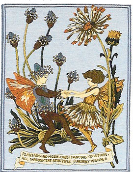 Romantic Tapestry Plantain And Moon By Cicely Mary Barker, 24in X 19in