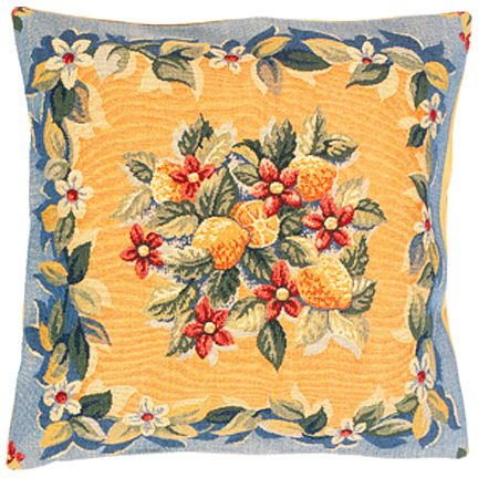 Citrons Abricot Tapestry Cushion Cover - European Home Decor Collection, 18in x 18in cushion cover
