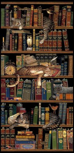 Classic Tails Tapestry Wall Hanging, 36in x 75in - Picture of Cats & Books