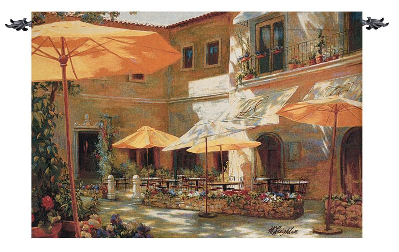 Closed On Monday - Street Cafe Picture Tapestry Wall Hanging, 70in X 48in