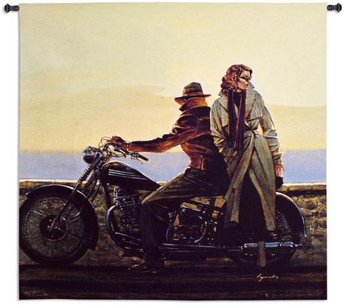 Coastal Ride Retro Styled Tapestry Wall Hanging - Man And Lady Portrait, 52in x 51in