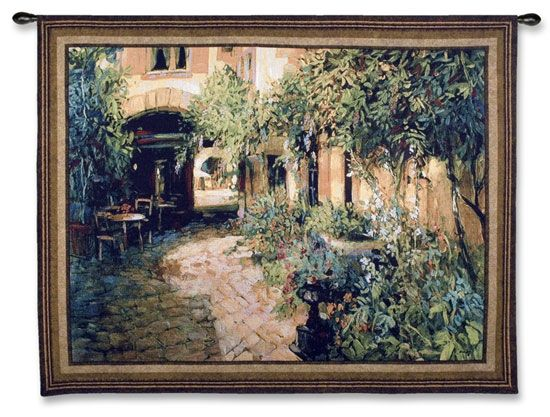 Courtyard Alsace Lg Tapestry Wall Hanging - Courtyard View Picture, 65in X 53in