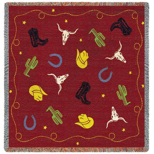 Cowboy Days Lap Square Tapestry Throw, 53in x 53in