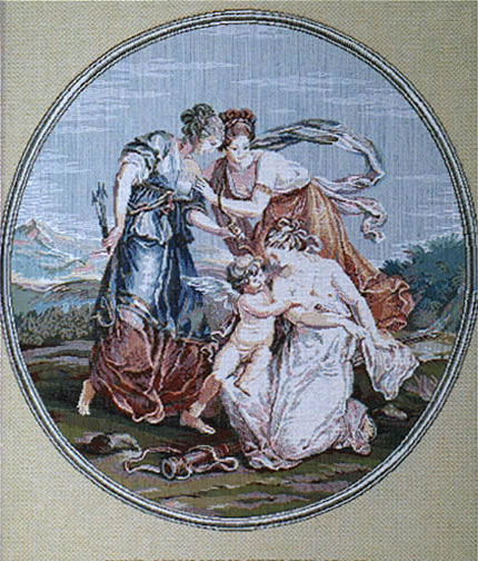 Wall Tapestry Cupid And Three Graces Romantic Pictures, 16.8in X 22.4in