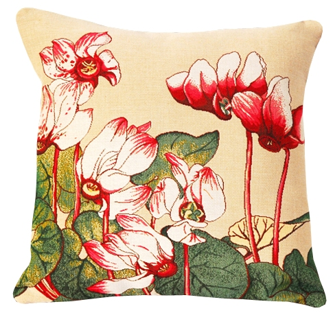 Cyclamen Tapestry Cushion Cover - European Home Decor Collection, 18in x 18in cushion cover