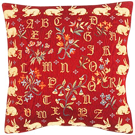 Dagobert Rouge Tapestry Cushion Cover - Classic Home Decor Collection, 18in x 18in cushion cover