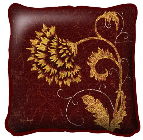 Dahlia Fresco Contemporary Tapestry Cushion - Floral Design, 17in x 17in
