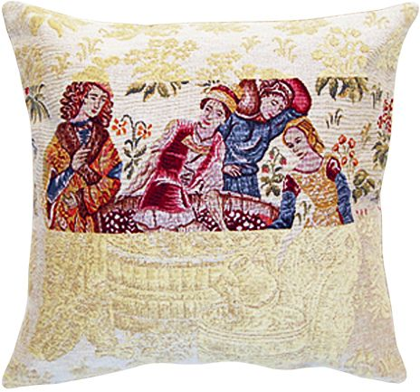 Damas Cueillette Tapestry Cushion Cover - European Home Decor Collection, 18in x 18in cushion cover