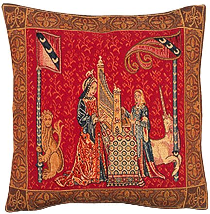 Dame A L'Orgue Tapestry Cushion Cover - Cluny Home Decor Collection, 18in x 18in cushion cover