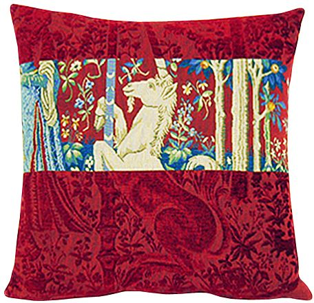 Dame A La Licorne II Tapestry Cushion Cover - Cluny Home Decor Collection, 18in x 18in cushion cover