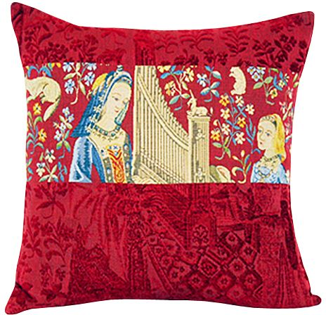 Dame A La Licorne Tapestry Cushion Cover - Cluny Home Decor Collection, 18in x 18in cushion cover