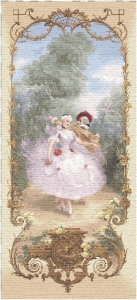 Dance Lesson Pastoral Scene Tapestry Wall Hanging, H43.2in x W20in