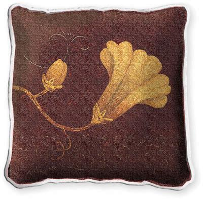 Datura Fresco Contemporary Tapestry Cushion - Floral Design, 17in x 17in
