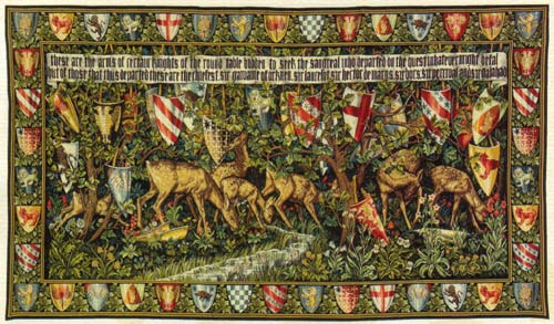 William Morris Tapestry Shields & Deer - Picture Of Medieval Knights - The Holy Grail, 27in X 48in