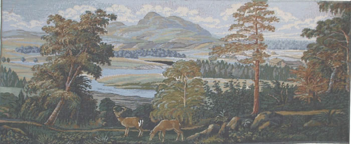 Beautiful Wall Tapestry Landscape With Deers - Deer Scenery, Mountain Picture, 40in X 16in