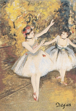 Degas Two Dancers On Stage Tapestry Wall Hanging, 55in x 39in
