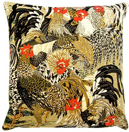 Des Potron Minet Tapestry Cushion Cover - Cock Picture, 18in x 18in cushion cover