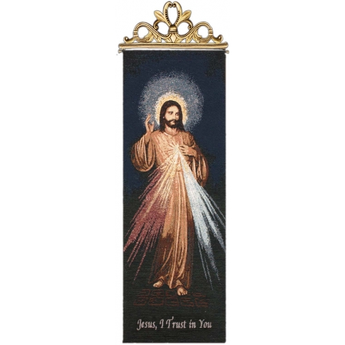 The Divine Mercy Tapestry Wall Hanging - Religious Picture, 13in X 36in