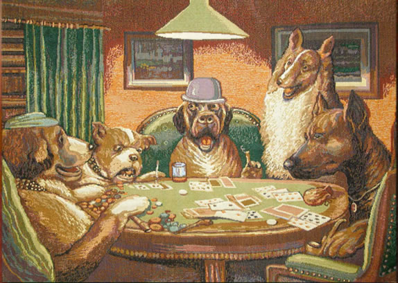 Dogs Playing Poker Tapestry Wall Hangings
