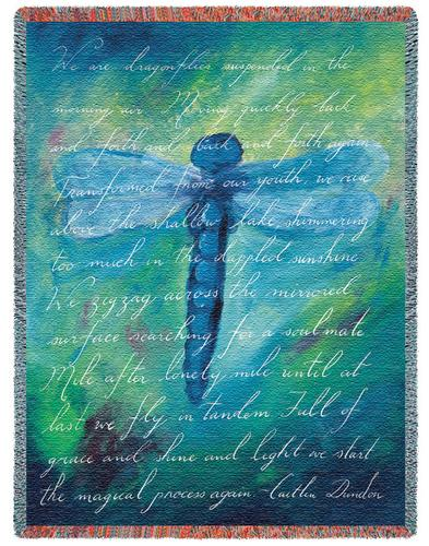 Dragonfly Poem Tapestry Throw, 53in x 70in