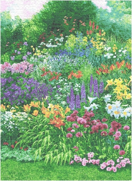 Dream Of Poets Garden Scene Tapestry Wall Hanging, H82in x W56in
